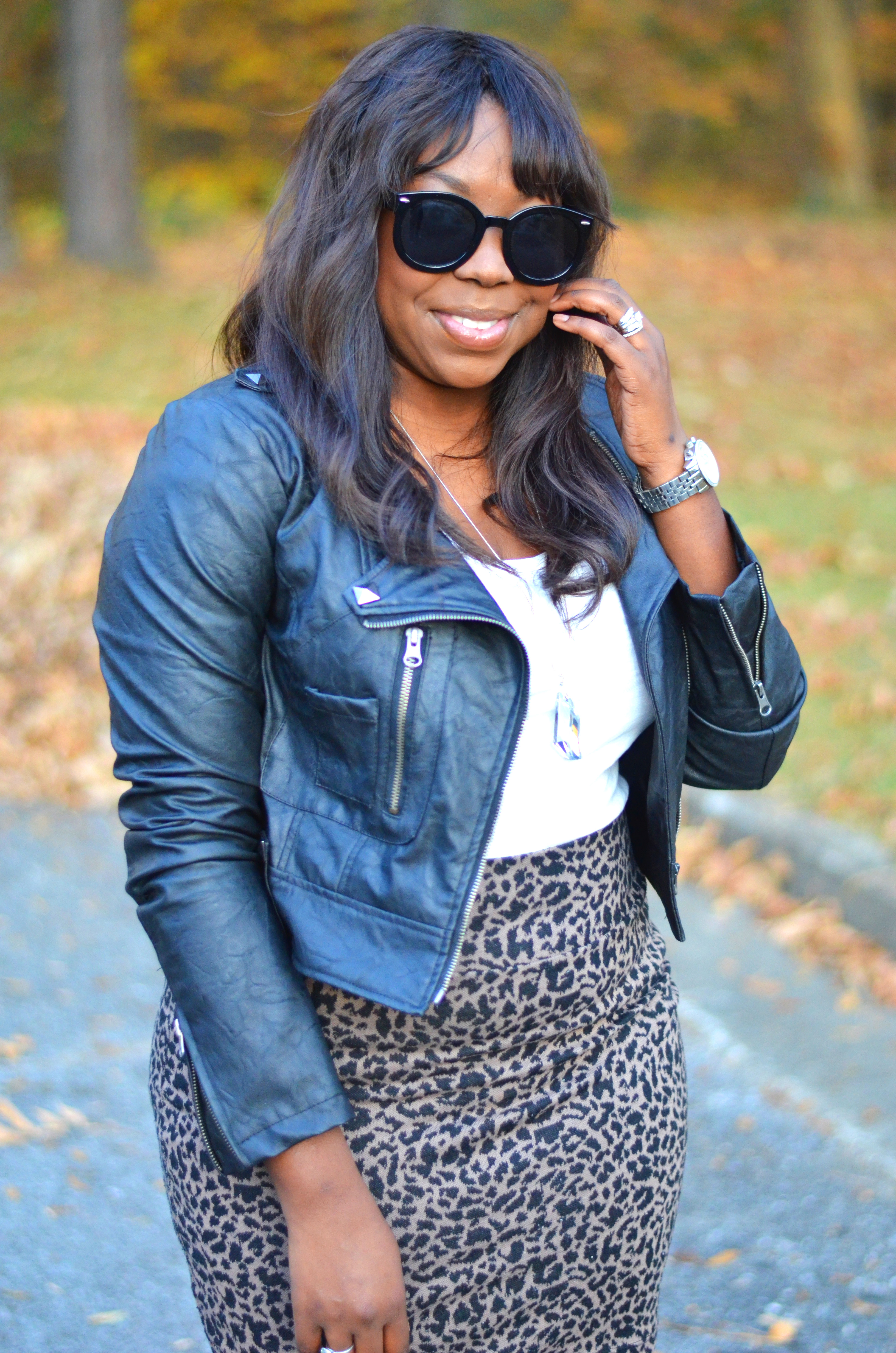 Leather and Leopard Skirt
