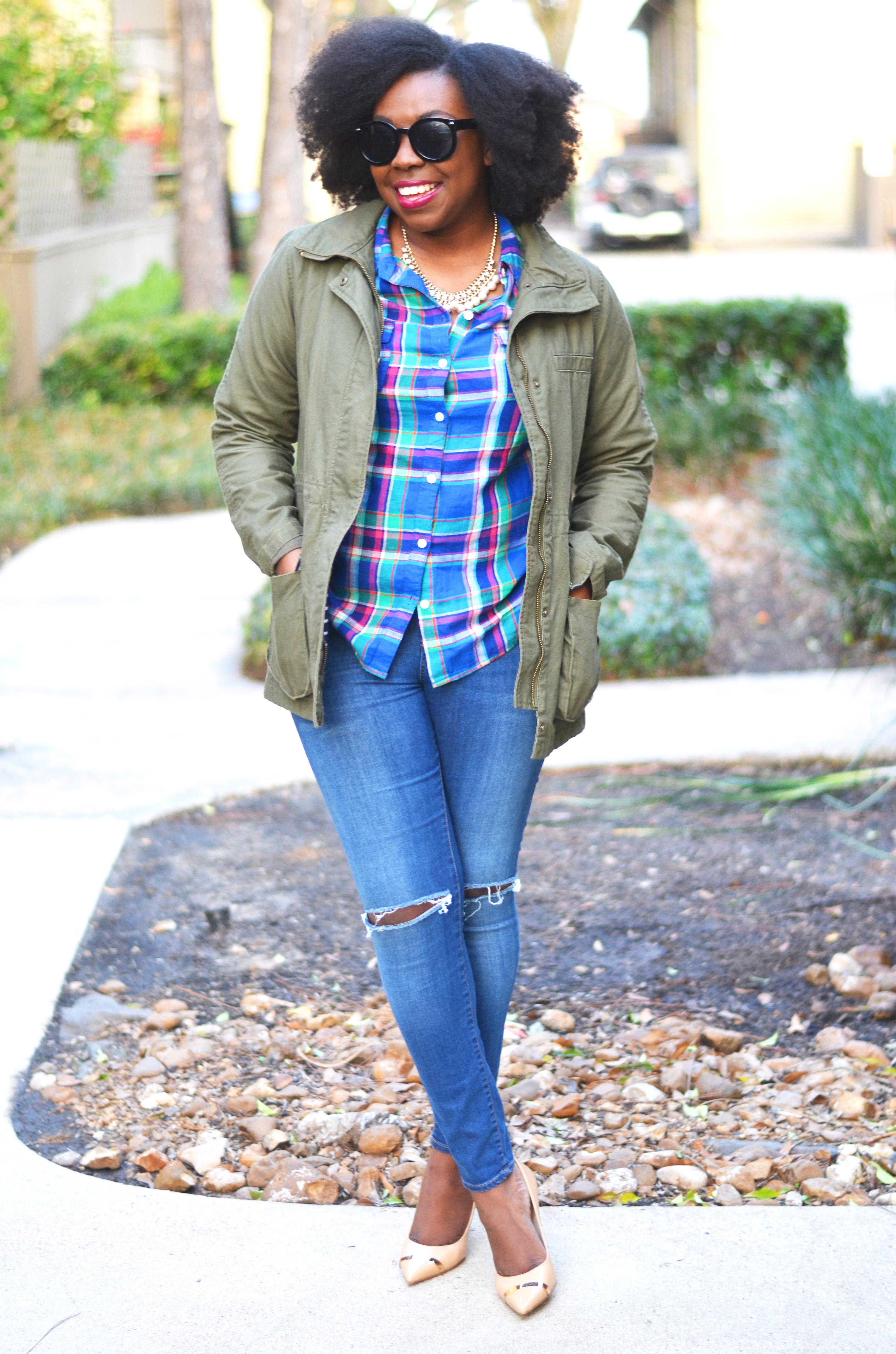 Parka & Plaid Outfit