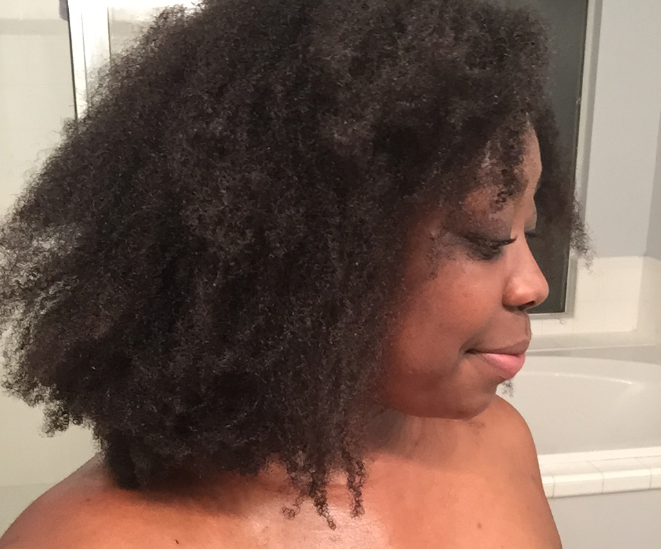 Blow dried natural hair