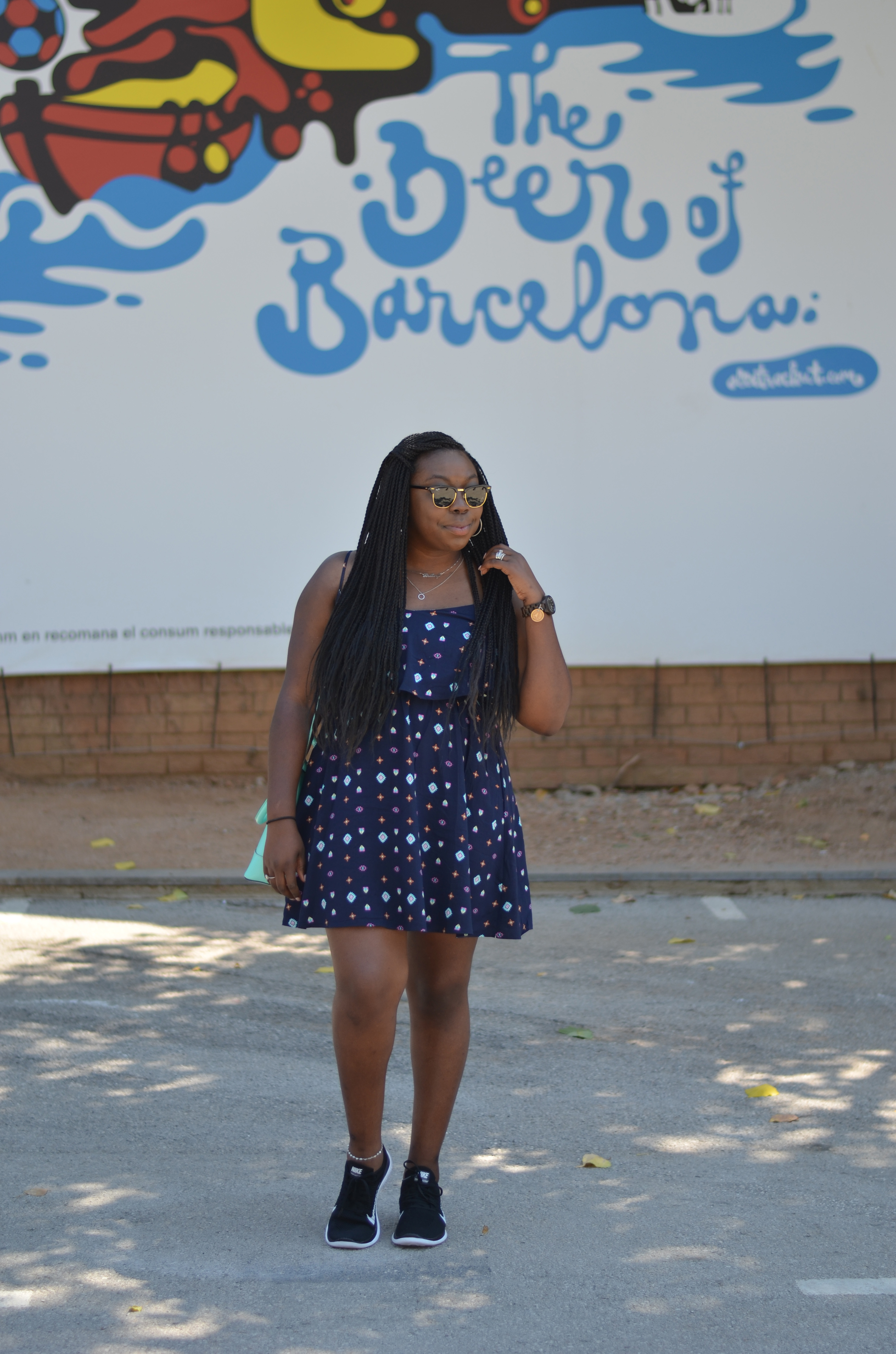 Barcelona Style Dress and Sneakers