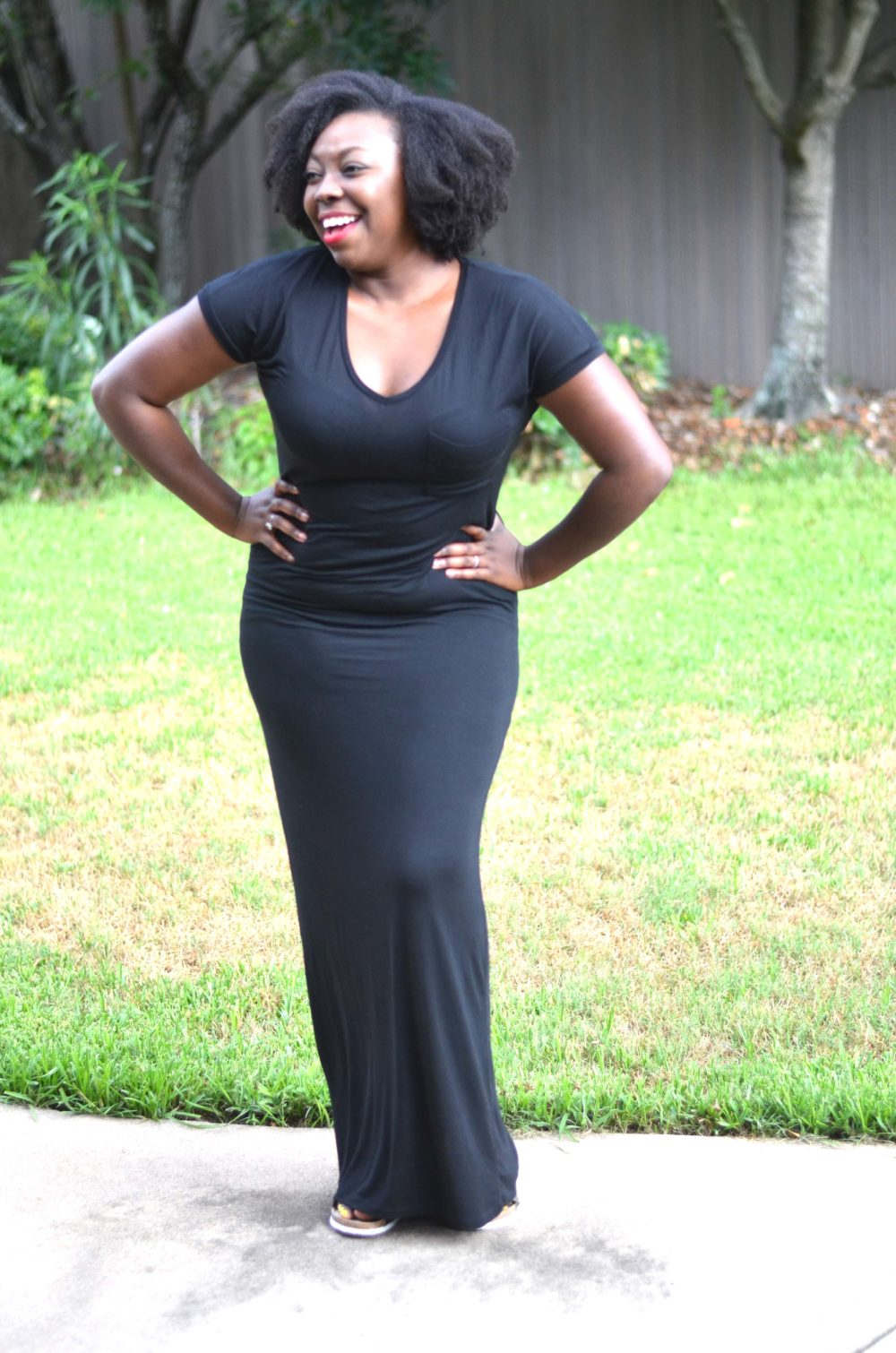 Black Maxi Dress - Natural Hair