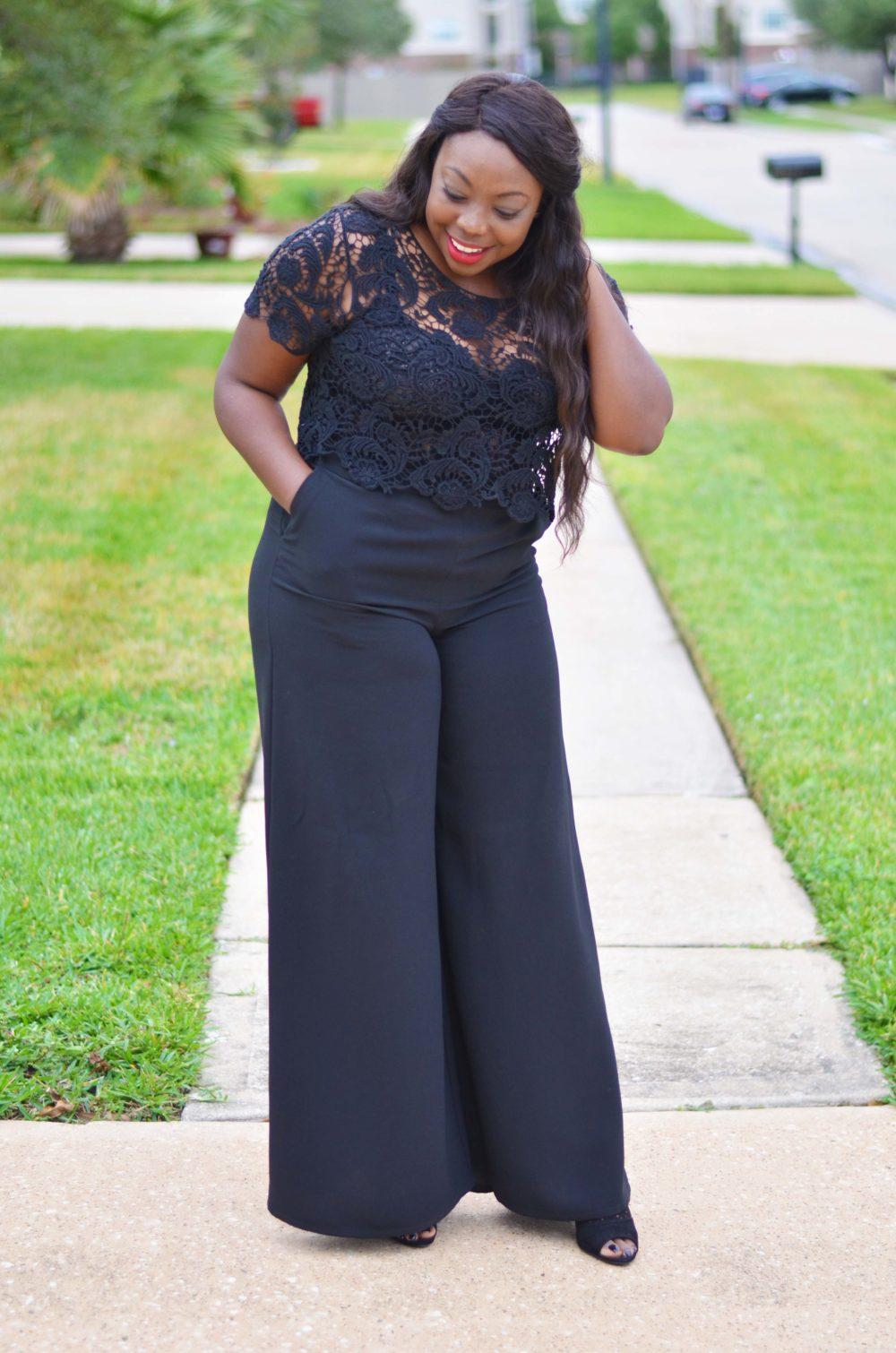 Lace top black wide leg pants neutral
