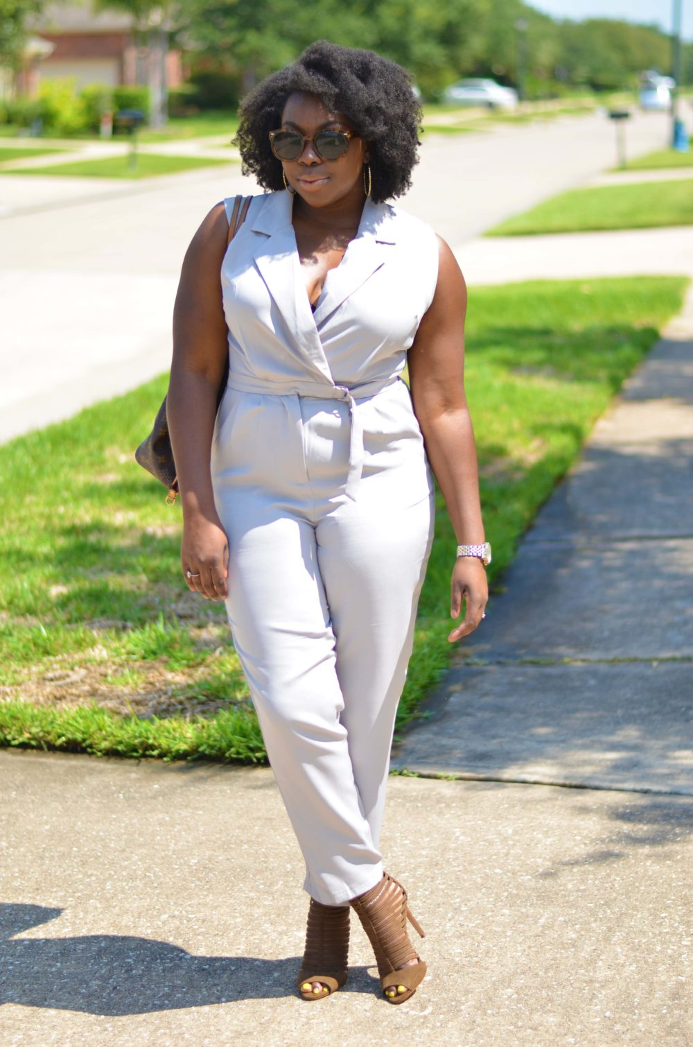 Neutral November outfit tan jumpsuit