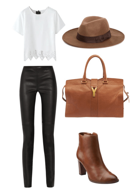 Neutral November white top black pants