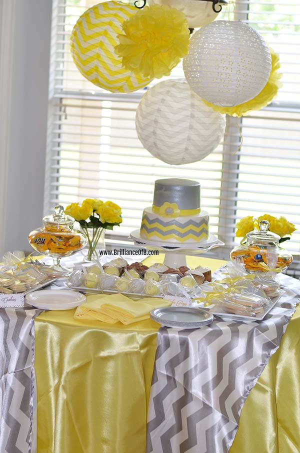 Brilliant Brittany Co Ed Baby Shower Yellow White And Gray
