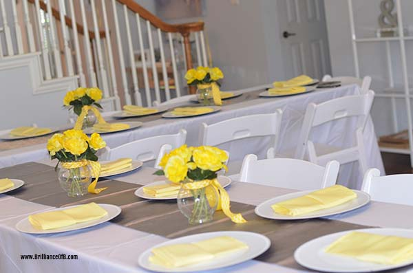 Baby Shower Decor Table Yellow Gray White